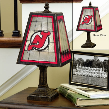 New Jersey Devils Small Art Glass Lamp