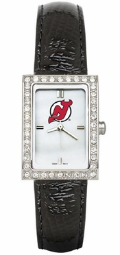 New Jersey Devils Women's Black Leather Strap Allure Watch