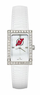 New Jersey Devils Women's White Leather Strap Allure Watch
