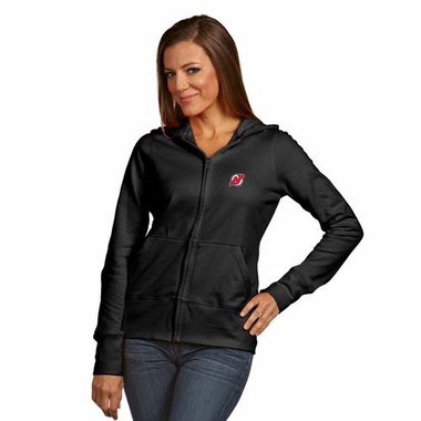 New Jersey Devils Womens Zip Front Hoody Sweatshirt (Alternate Color: Black)