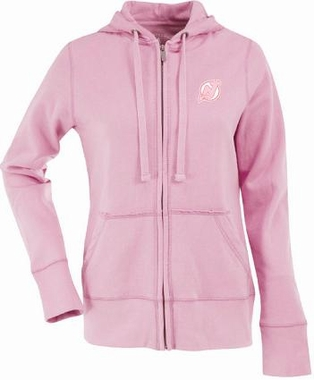 New Jersey Devils Womens Zip Front Hoody Sweatshirt (Color: Pink)