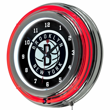 Brooklyn Nets 14 Inch Neon Clock