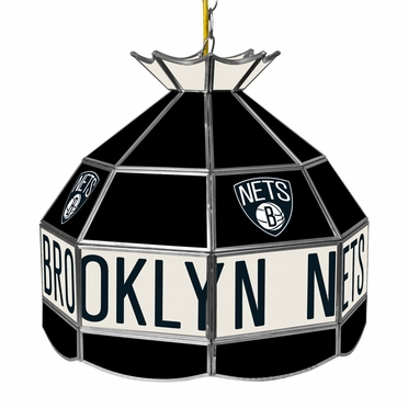 Brooklyn Nets 16 Inch Diameter Stained Glass Pub Light