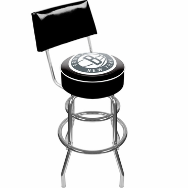 Brooklyn Nets Padded Bar Stool with Back