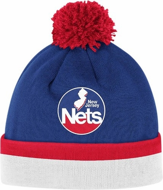New Jersey Nets Vintage Jersey Stripe Cuffed Knit Hat w/ Pom