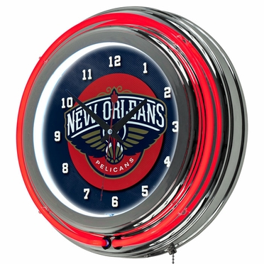New Orleans Pellicans 14 Inch Neon Clock