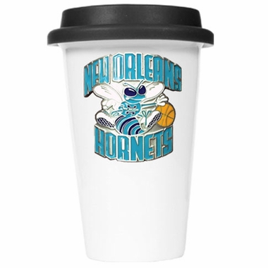 New Orleans Hornets Ceramic Travel Cup (Black Lid)