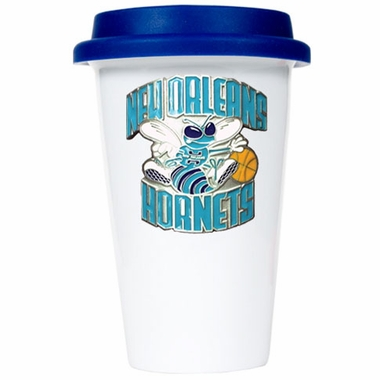 New Orleans Hornets Ceramic Travel Cup (Team Color Lid)