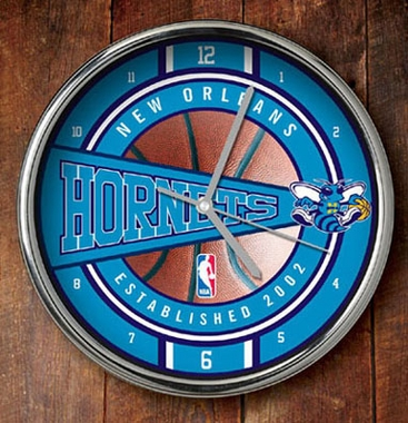 New Orleans Hornets Chrome Clock