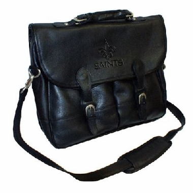 New Orleans Saints Debossed Black Leather Angler's Bag