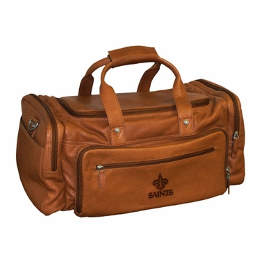 New Orleans Saints Saddle Brown Leather Carryon Bag