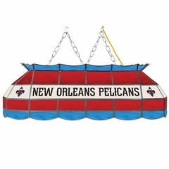 New Orleans Pellicans 40 Inch Rectangular Stained Glass Billiard Light