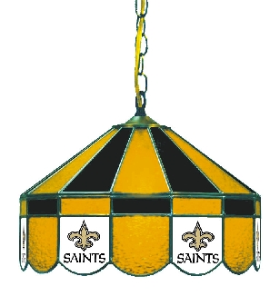 New Orleans Saints 16 Inch Diameter Stained Glass Pub Light