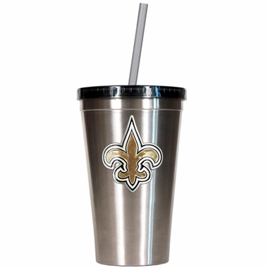 New Orleans Saints 16oz Stainless Steel Insulated Tumbler with Straw