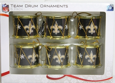 New Orleans Saints 2012 Plastic Drum 6 Pack Ornament Set