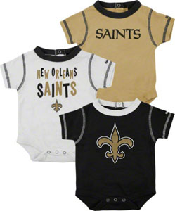 New Orleans Saints 3 Pack Creeper Set - 24 Months