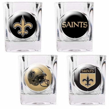 New Orleans Saints 4 Piece Assorted Shot Glass Set