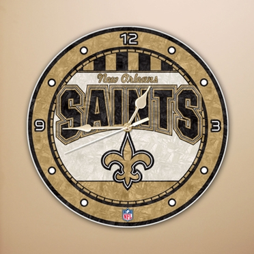 New Orleans Saints Art Glass Clock