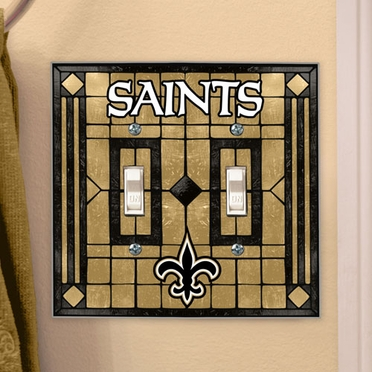 New Orleans Saints Art Glass Lightswitch Cover (Double)