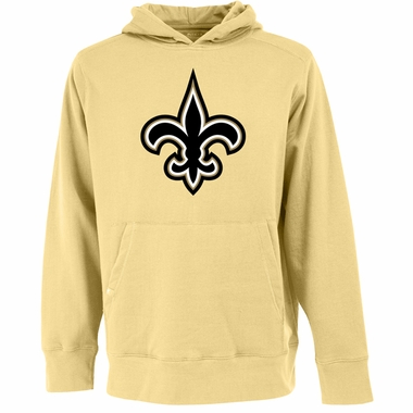 New Orleans Saints Big Logo Mens Signature Hooded Sweatshirt (Color: Gold)