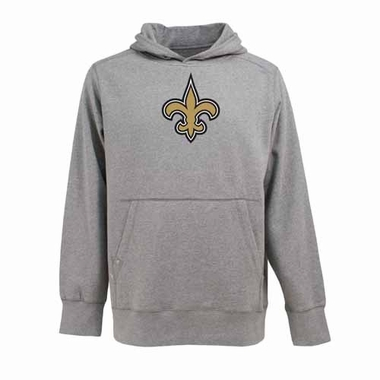 New Orleans Saints Big Logo Mens Signature Hooded Sweatshirt (Color: Gray)