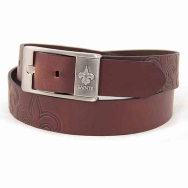 New Orleans Saints Brown Leather Brandished Belt
