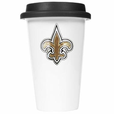 New Orleans Saints Ceramic Travel Cup (Black Lid)