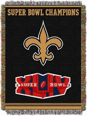 New Orleans Saints Commerative Jacquard Woven Blanket