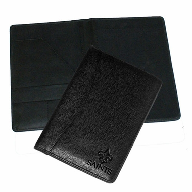 New Orleans Saints Debossed Black Leather Portfolio
