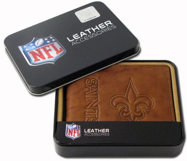 New Orleans Saints Embossed Leather Bifold Wallet