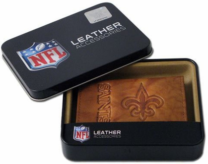 New Orleans Saints Embossed Leather Trifold Wallet