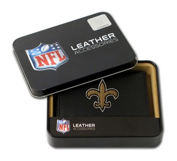 New Orleans Saints Embroidered Leather Tri-Fold Wallet