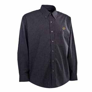 New Orleans Saints Mens Esteem Check Pattern Button Down Dress Shirt (Team Color: Black) - Large