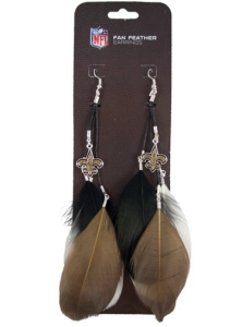 New Orleans Saints Feather Earrings