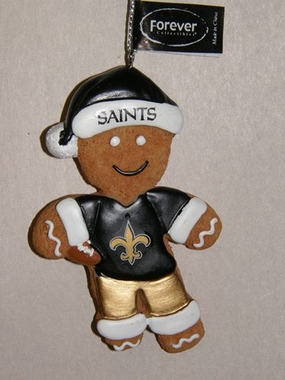 New Orleans Saints Gingerbread Man Christmas Ornament