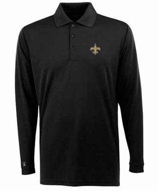 New Orleans Saints Mens Long Sleeve Polo Shirt (Team Color: Black)
