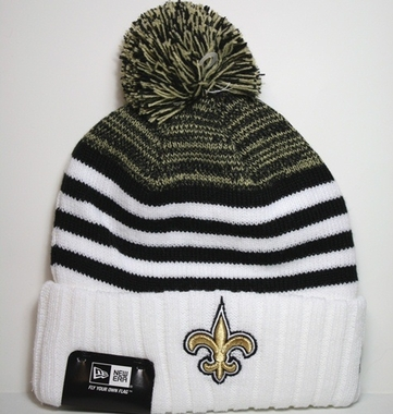 New Orleans Saints New Era NFL Snowfall Stripe Cuffed Knit Hat