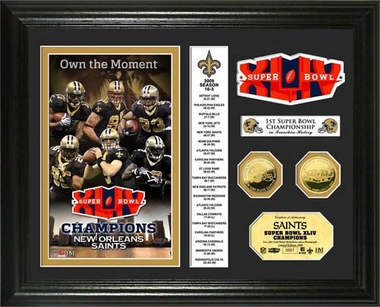 New Orleans Saints New Orleans Saints Super Bowl XLIV Champs 24KT Gold Coin Banner Photo Mint