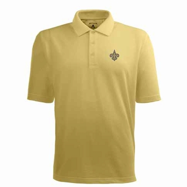 New Orleans Saints Mens Pique Xtra Lite Polo Shirt (Alternate Color: Gold)