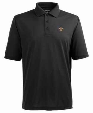 New Orleans Saints Mens Pique Xtra Lite Polo Shirt (Team Color: Black)