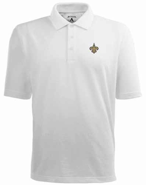 New Orleans Saints Mens Pique Xtra Lite Polo Shirt (Color: White)