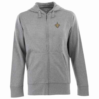 New Orleans Saints Mens Signature Full Zip Hooded Sweatshirt (Color: Gray)