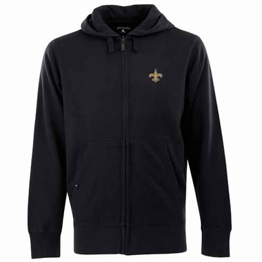 New Orleans Saints Mens Signature Full Zip Hooded Sweatshirt (Team Color: Black)