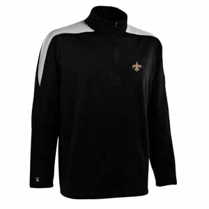 New Orleans Saints Mens Succeed 1/4 Zip Performance Pullover (Team Color: Black) - Large
