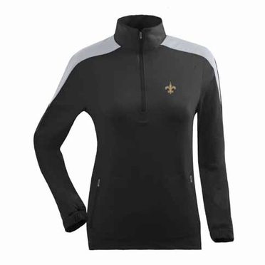 New Orleans Saints Womens Succeed 1/4 Zip Performance Pullover (Team Color: Black)