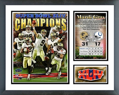 New Orleans Saints Super Bowl XLIV Champions Framed Milestones & Memories