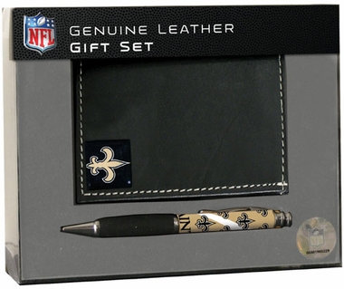 New Orleans Saints Tri-Fold Wallet and Pen Set