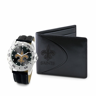 New Orleans Saints Watch and Wallet Gift Set
