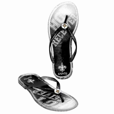 New Orleans Saints Womens 2013 Slogan Jelly Flip Flop Slippers