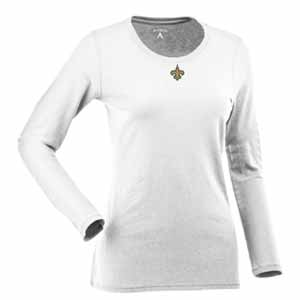 New Orleans Saints Womens Relax Long Sleeve Tee (Color: White) - Small